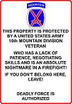 10th Mountain Division Veteran  Sign