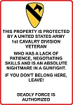 1st Cavalry Division Veteran  Sign