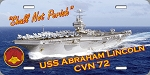 USS Abraham Lincoln CVN-72 License Plate