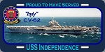 USS Independence CV-62 License Plate