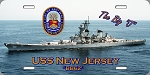 USS New Jersey (BB-62)  License Plate
