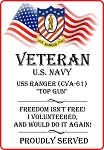 USS Ranger (CVA-61)  Veteran Freedom Decal