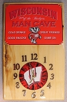 Badgers Mancave Wood Wall Clock