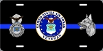 USAF Security Police / K-9 (Thin Blue Line) License Plate