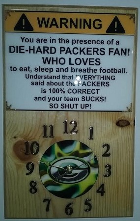 Packers Mancave Wood Wall Clock